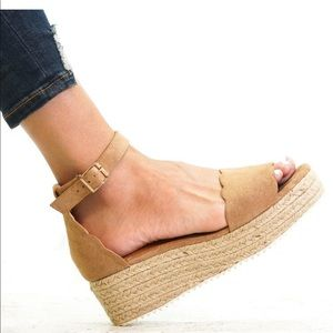 Shoes - ⚡️5 ⭐️⚡️TAUPE SUEDE ESPADRILLES WEDGES- Shoe
